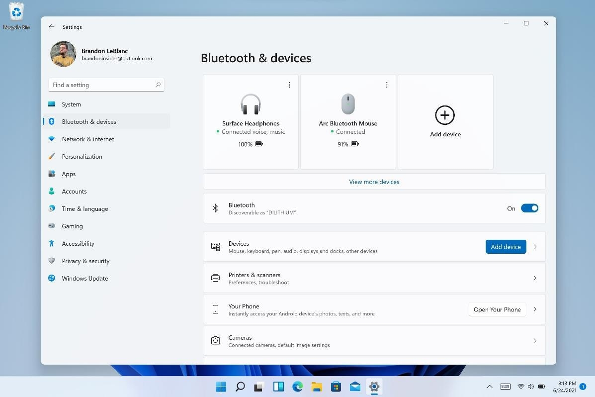 Blutooth & Devices Windows 11 Insider Preview Build 22000.51